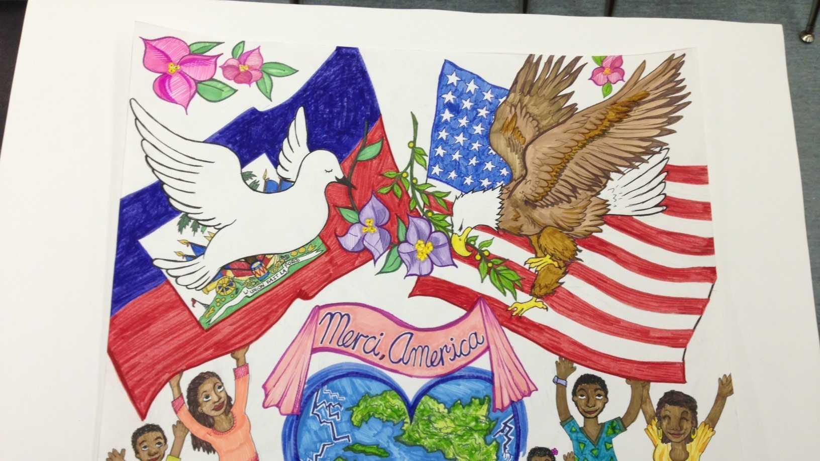 Haiti mosaic 'Merci, America'