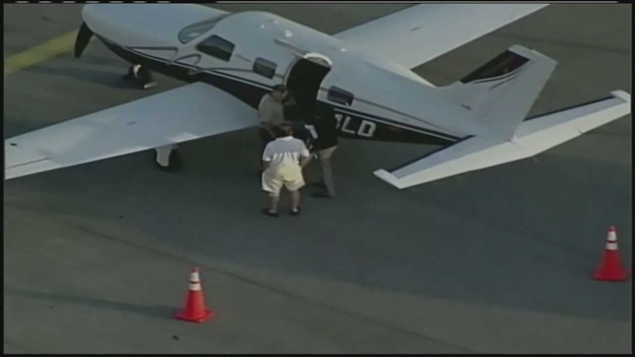 Closeup of plane where man fell out