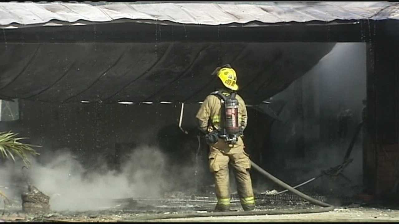 An iguana is the only victim of a fire that destroyed a house and boat in Fort Pierce.