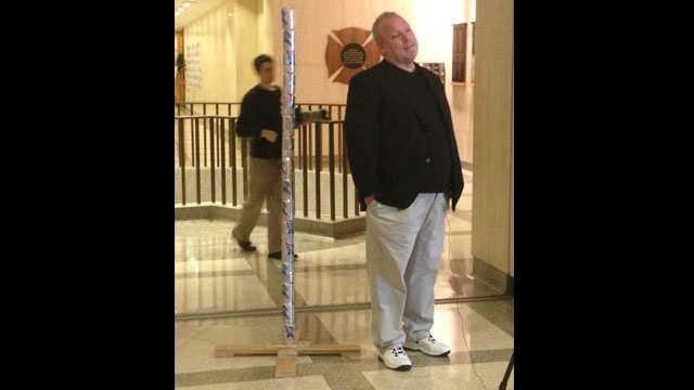 Chaz Stevens with his Festivus pole