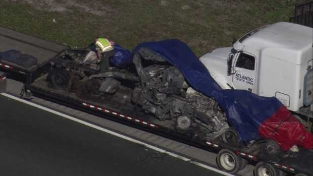 I-95 fiery collision aerial of charred wreckage