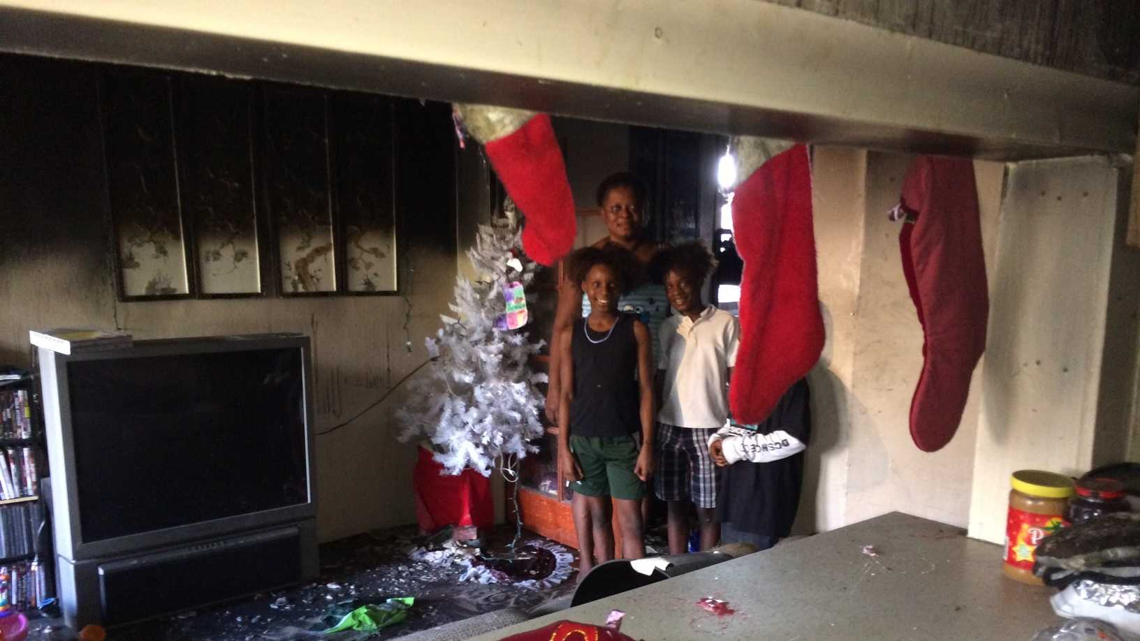 Demetrius Wynter and family in house that caught fire days before Christmas