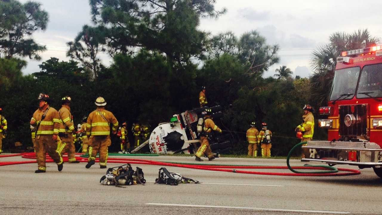 The driver of a septic truck was killed in a crash on northbound Interstate 95 in West Palm Beach.