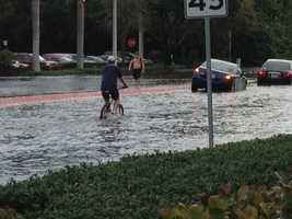 Angela Rozier found some morning commuters who didn't want to risk driving their cars in Boynton Beach.