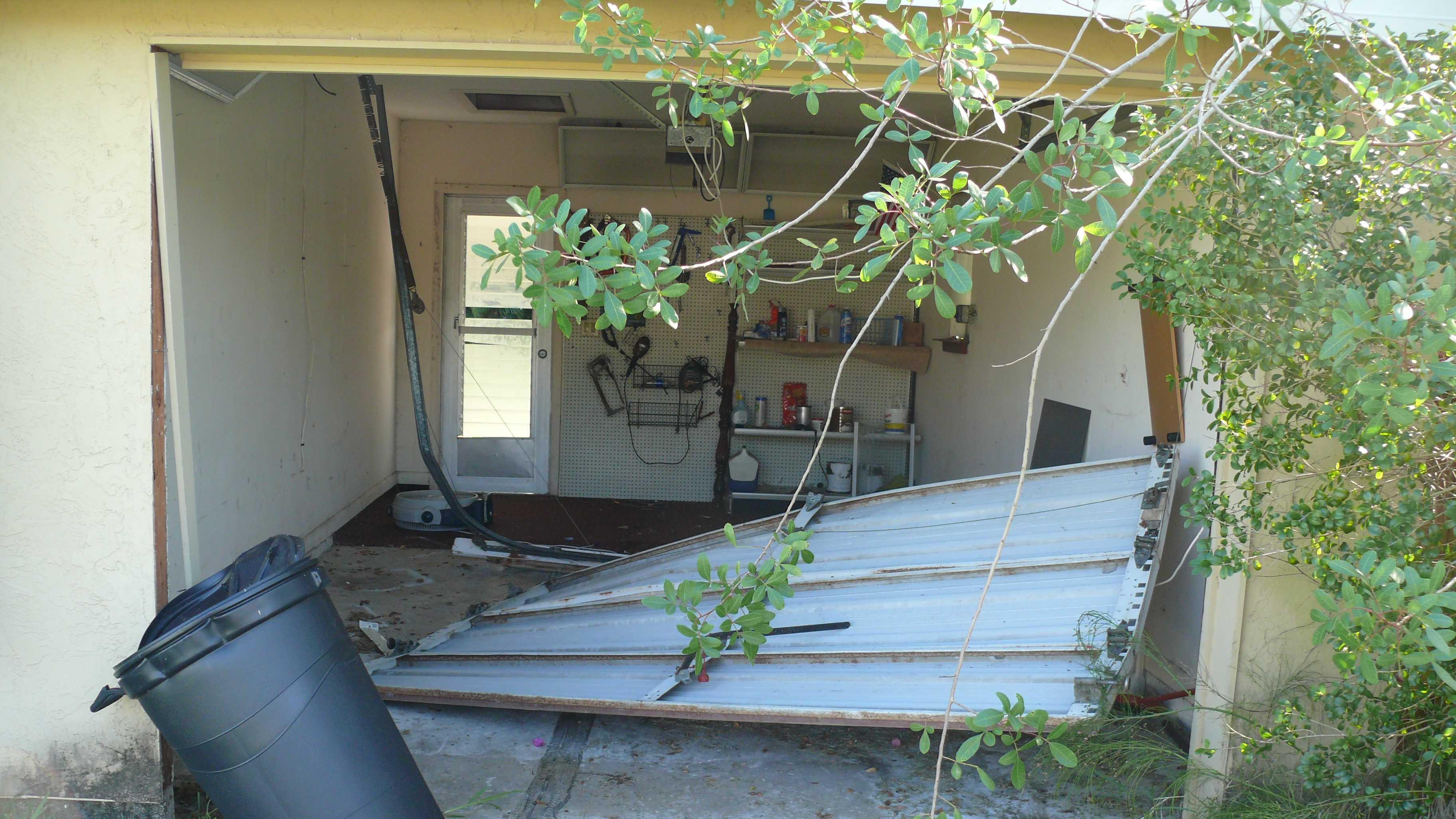 Garage door rammed