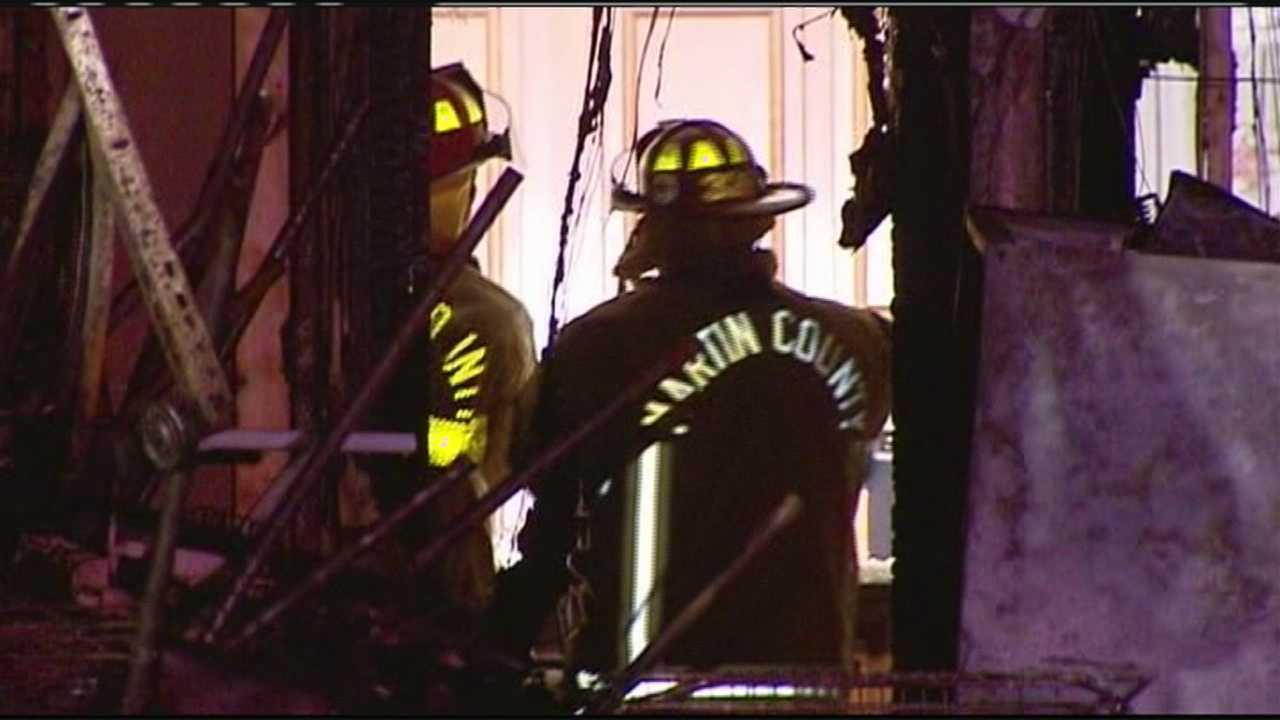 Three people were left homeless after a fire started in the garage of their Jensen Beach house.