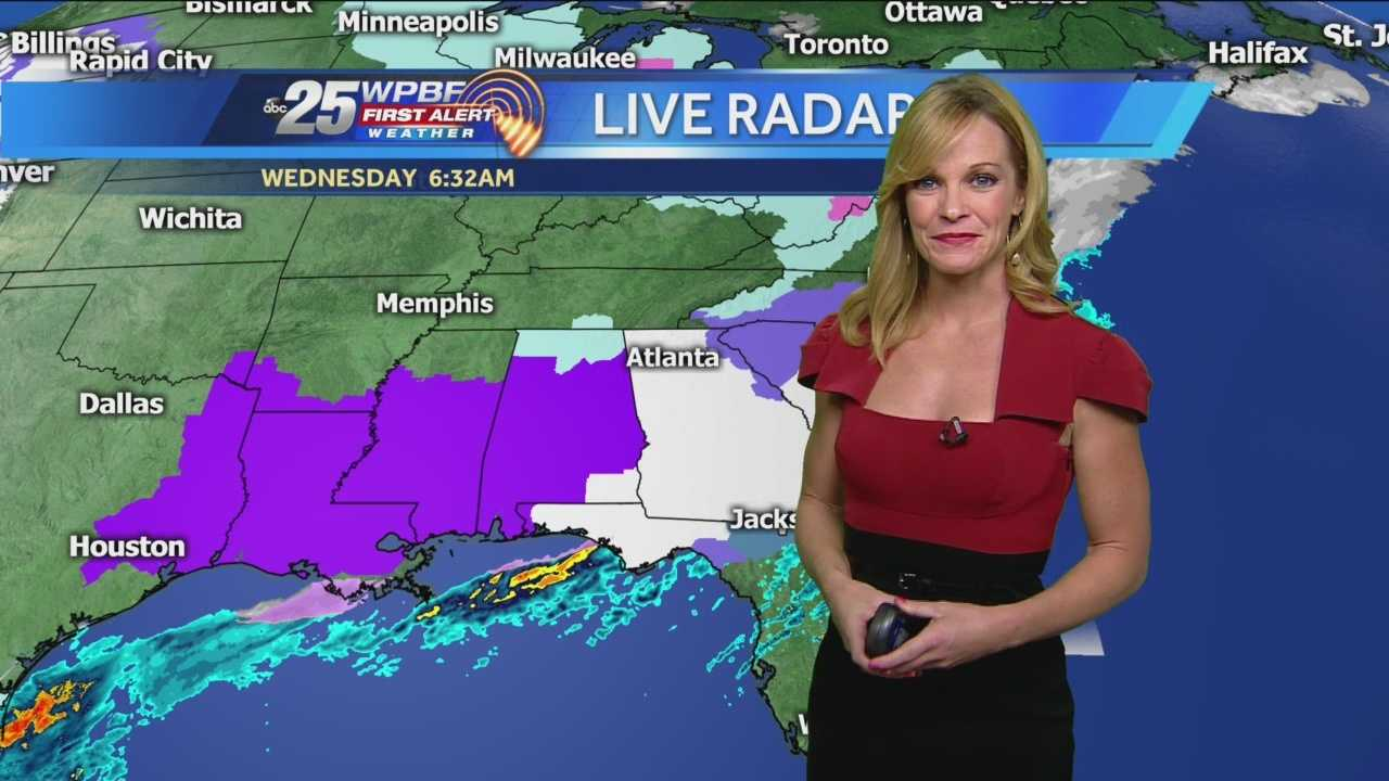 Sandra says to expect rain today and slightly cooler temperatures, but not the freezing rain that is still falling on the Florida panhandle Wednesday.