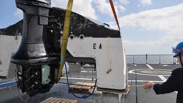 This capsized vessel was retrieved from the ocean.