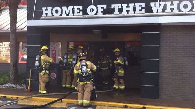 A kitchen fire started at this Burger King on the corner of Atlantic Avenue and Military Trail in Delray Beach.