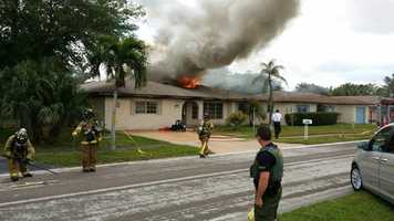 Fast-moving flames left three Boca Raton residents looking for another place to live.