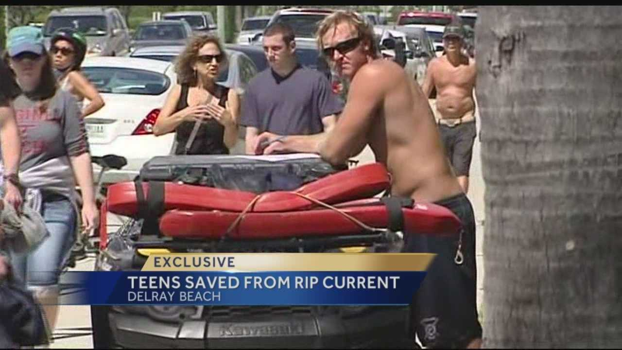 Teens had to be pulled to safety after strong rip currents nearly pulled them under in Delray Beach on Friday.