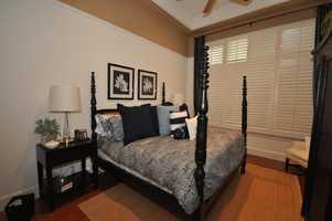 A tasteful master bedroom.