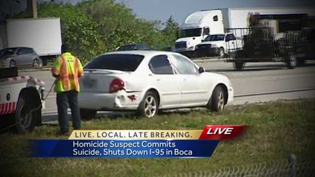A police chase with a homicide suspect on Interstate 95 ended in suicide Thursday afternoon.