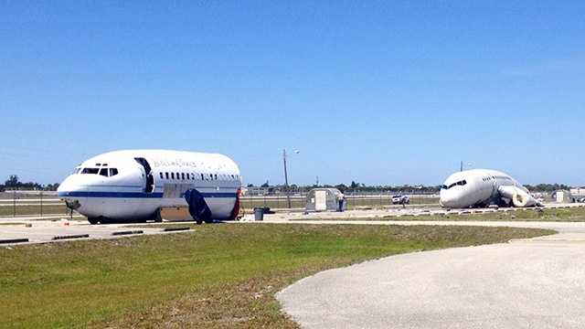 Here's what a closed-off runway looked like at PBIA on Wednesday, as crews simulated a disaster for training purposes.