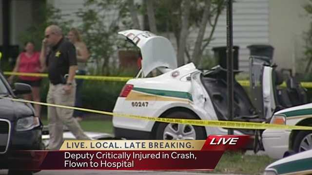 A Palm Beach County deputy had to be extricated from his cruiser after a serious accident in West Palm Beach on Friday.