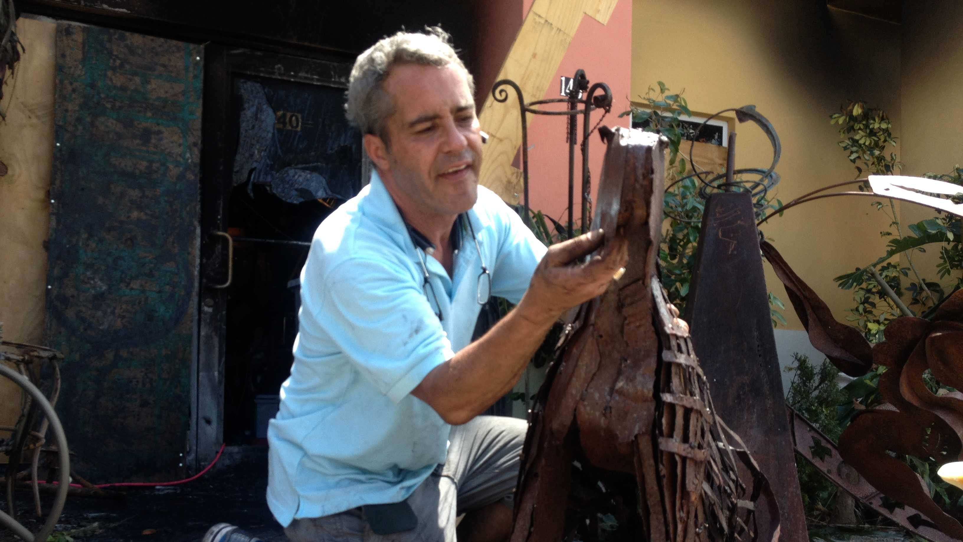 Carlos Costa had part of his precious art collection destroyed by fire in Boca Raton early Tuesday morning.