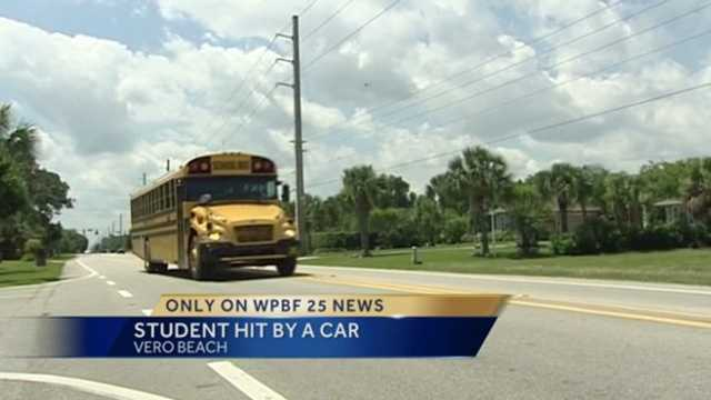 As a man was watching his daughter get on her school bus Thursday morning, he saw another young girl hustling to make it, and she was struck by an oncoming car.
