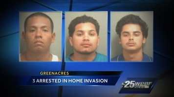 Three men from Miami faced a judge Wednesday after police said they broke in to a Greenacres residence and terrorized several men during a violent home invasion.