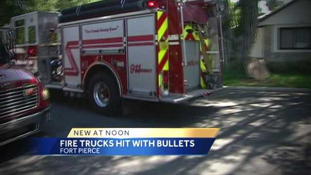img-Fire engine rescue truck hit with bullets