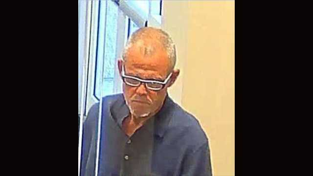 This is the photo taken by bank security surveillance of the man involved in a robbery at theWells Fargo bank at 120 N Dixie Highway in Lake Worth.