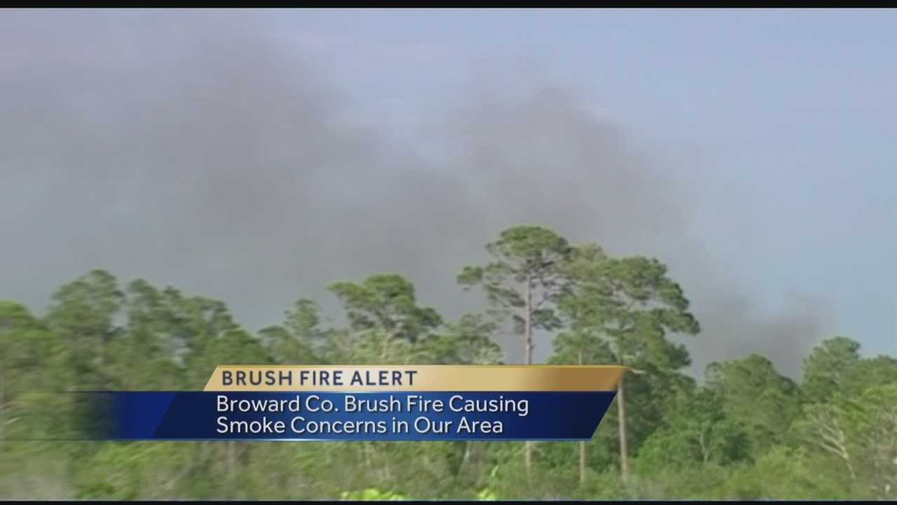 A 25 hundred acre brush fire that is burning in Broward County is causing heavy smoke conditions around parts of Palm Beach County Monday. Reporter Angela Rozier spoke to officials at the Palm Beach County health department for advice for those having problems due to the smoke in our area.