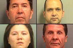 Jorge Alarcon, (top left) was arrested in connection with a series of botched plastic surgeries allegedly done by unlicensed practitioners at a West Palm Beach clinic. Also arrested in the case are, clockwise from top right: Juan Carlos Pinzon, Dr. William Marrocco and Monica Daza.