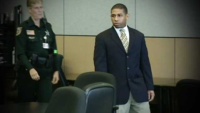 Jesse Miller walks into a Palm Beach County courtroom for the start of his re-trial on Monday.