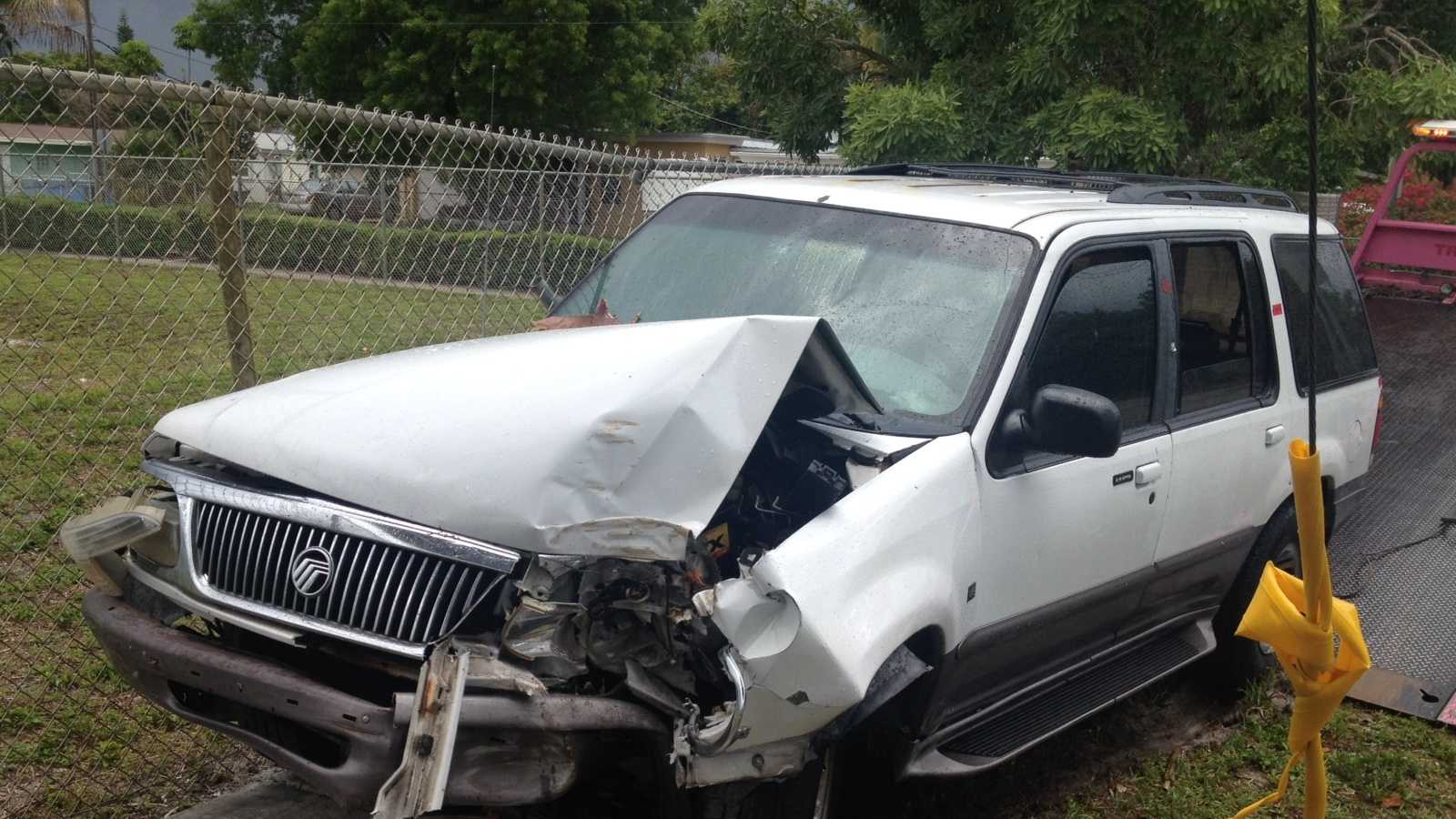 JUNE 17: A woman accused in a home burglary took off in this SUV and crashed it into a telephone pole, investigators said Tuesday.