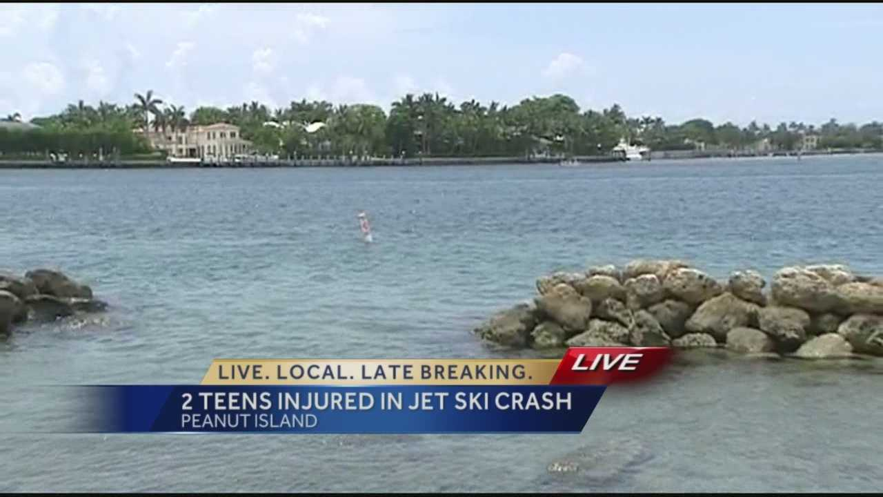 Two teens are recovering after investigators say they crashed stolen jet skis into rocks off Peanut Island early Friday around 1 a.m.