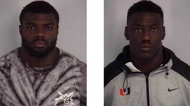 Alexander Figueroa (left) and JaWand Blue (right) have been arrested and suspended from the University of Miami football team following a sexual battery allegation.