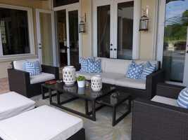 Right outside the family room, you'll find a modern patio space.