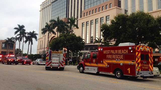"""Palm Beach County Fire Rescue responded to a """"suspicious powder"""" at the Palm Beach County courthouse Tuesday. Crews ran tests and gave the all-clear after confirming the powder as baby formula."""