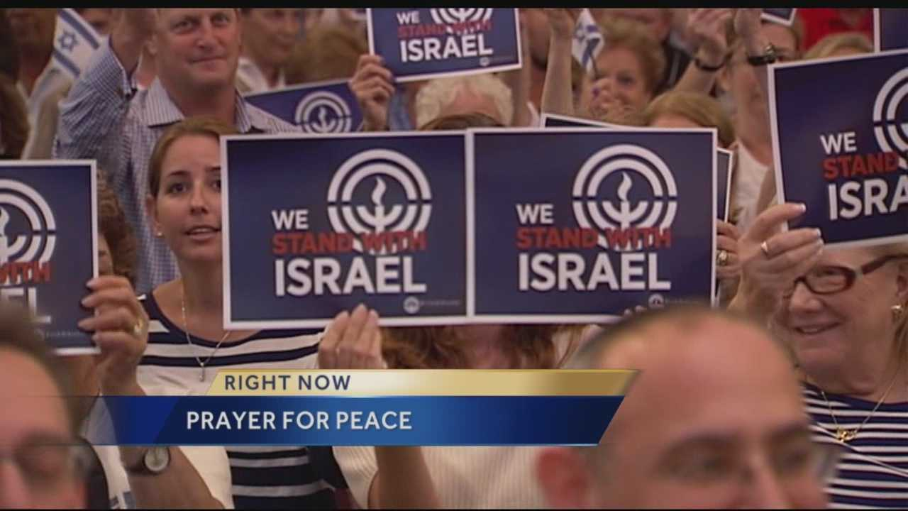 About 1,000 people crowded into B'nai Torah Congregation in Boca Raton on Wednesday night for what was called an Israel solidarity gathering. Reporter Ari Hait has the story.