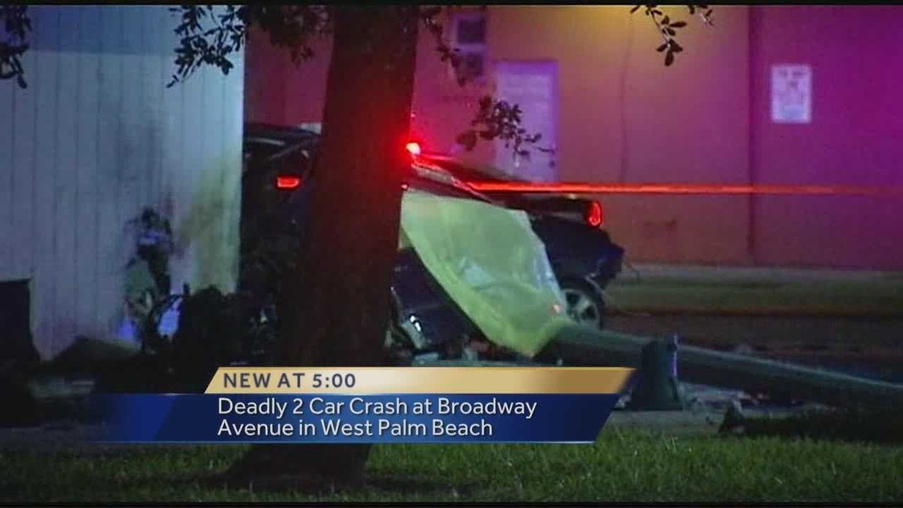 One person was killed and another injured in an early morning crash in West Palm Beach on Tuesday.