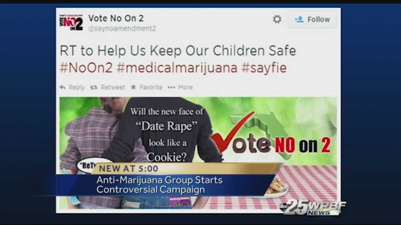 "People in the Boca Raton business community gathered Tuesday to learn more about medical marijuana. But one question against the business of pot stole the show. ""Will the new face of date rape look like a cookie?"" The question is prominently featured in a new advertising campaign launched on the ""no on 2"" Twitter account."