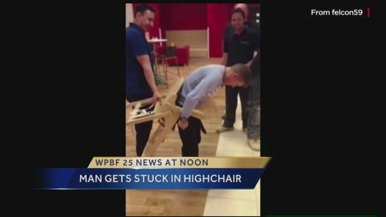 A man found out the hard way that it's a lot easier to get into a baby's high chair then out of one.
