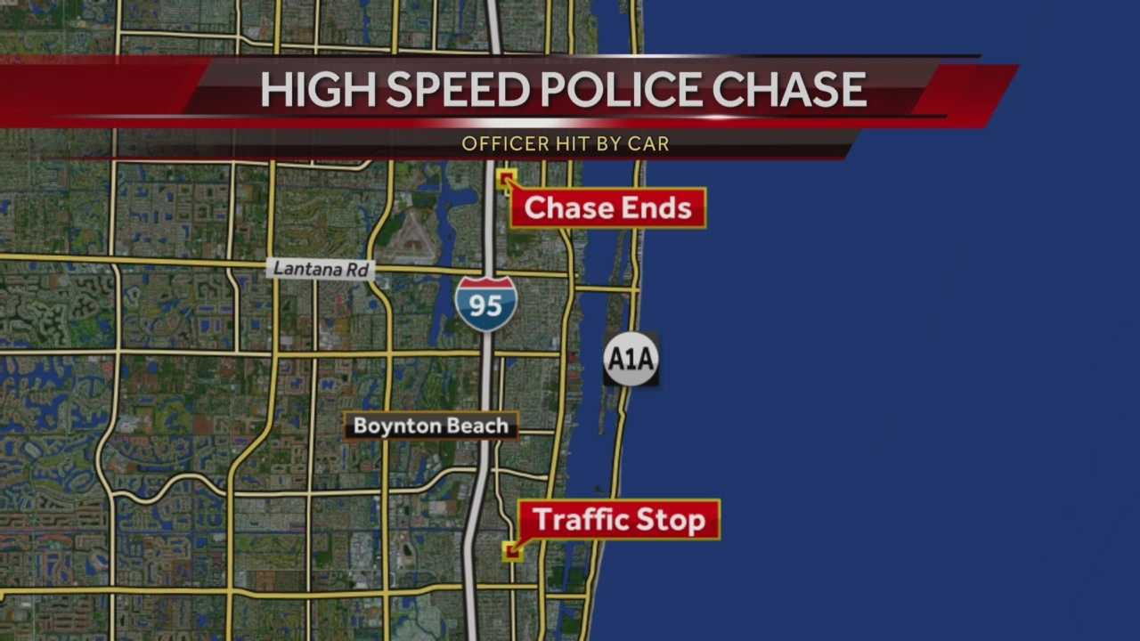 Boynton Beach police officer hit by car during chase