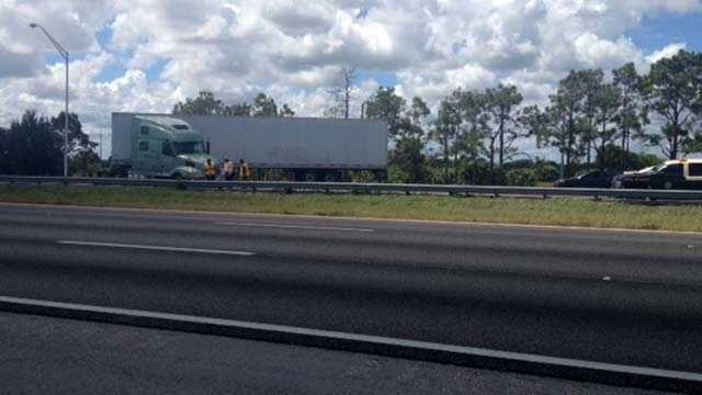 A photo from the scene on southbound I-95 in Fort Pierce where a spokesman from the Florida Highway Patrol has confirmed that a man took his own life in front of a tractor-trailer Wednesday.