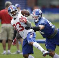 No. 83 Preston Parker during practice drills with the New York Giants.