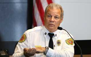 Scott Bielecky, retired Palm Beach County Fire-Rescue captain, describes going in the canal at the crash scene to look for a victim during his testimony on the second day of John Goodman's retrial Monday, October 13, 2014. Goodman is charged with DUI manslaughter in the death of Scott Wilson. (Lannis Waters / The Palm Beach Post)