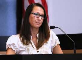 Cathleen Lewter testifies on the fifth day of John Goodman's retrial Thursday, October 16, 2014. Goodman is charged with DUI manslaughter in the death of Scott Wilson. (Lannis Waters / The Palm Beach Post)