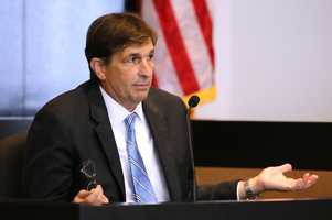 John Goodman says he doesn't know why he told the 911 dispatcher he was was OK, while he testifies Wednesday afternoon, October 22, 2014. Goodman is charged with DUI manslaughter in the death of Scott Wilson. (Lannis Waters / The Palm Beach Post)