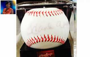 "WPBF 25 Reporter Angela Rozier's favorite things:""Thankful for my autographed Hank Aaron baseball."""