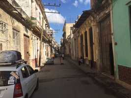 Streets are narrow in Old Havana.