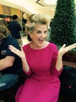 WPBF 25 News anchor Tiffany Kenney backstage in her classic Velcro rollers!