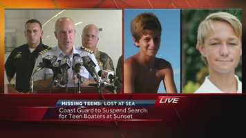Friday afternoon, the Coast Guard said it was suspending its search for the boys.