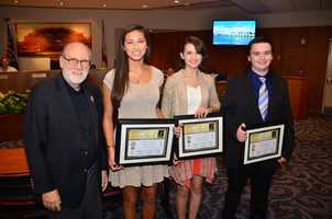 Essay-2 = Three winners. L-R= Palm Beach Gardens Mayor Eric Jablin&#x3B; Third Place Winner, Alexis Simm&#x3B; Second Place Winner, Rebecca Newbold&#x3B; First Place Winner, Brandon Gitto.