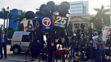 Mics set up at the Palm Beach County Courthouse.
