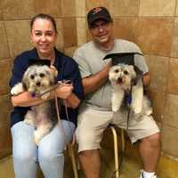 WPBF 25 News traffic coordinator Nicki Mooring, her husband and their two dogs Finn and Fiona.