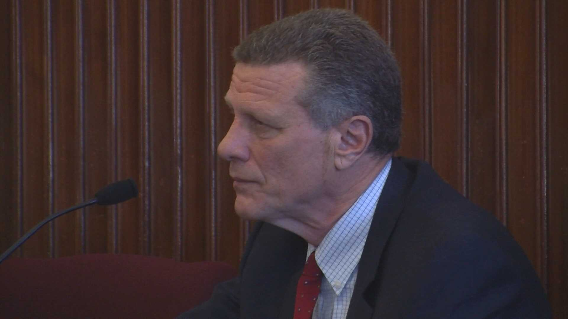 Ralph Nelson testifies in court in his case against St. Johnsbury's Board of Selectmen.